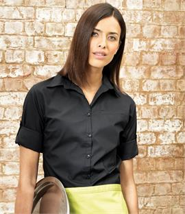 Premier Ladies 'Roll Sleeve' Poplin Blouse