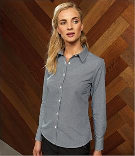 Premier Ladies Microcheck Long Sleeve Shirt