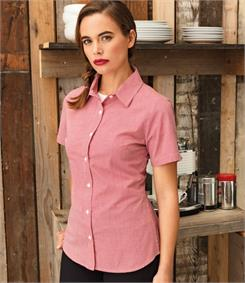 Premier Ladies Microcheck Short Sleeve Shirt