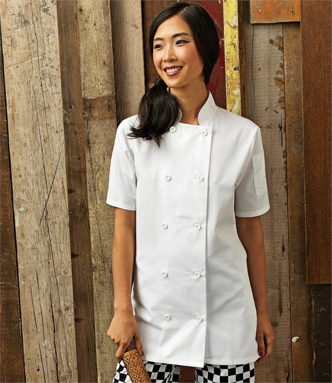 Premier Ladies Short Sleeve Chef's Jacket